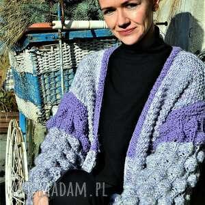 ręcznie robione swetry kardigan handmade bąblowymi rękawami