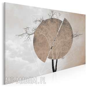 obraz na płótnie - drzewo koło brąz beż 120x80 cm 41102, drzewo, okrąg
