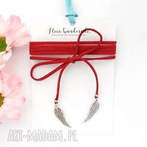 czerwony choker - silver wing - choker, naszyjnik, skrzydła, zawieszka, zawieszki