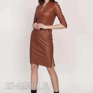 sukienki skórzana sukienka, suk178 brąz, skórzana, ekoskóra, dopasowana