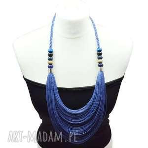 handmade naszyjniki niebieski jeansowy stopniowany naszyjnik lniany