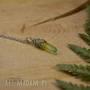 wisiorek talizman zielono żółty kryształ górski, wire wrapping, stal