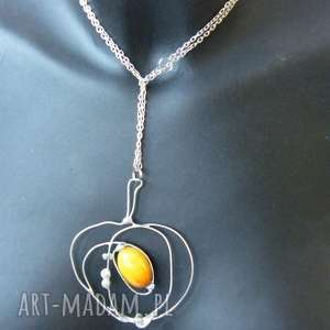 wisior z łańcuszkiem jabłuszko z agatem - jabłko, agat, kamienie