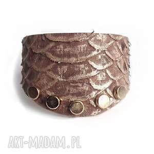 handmade bransoletka skórzana brąz wężowa z nitami