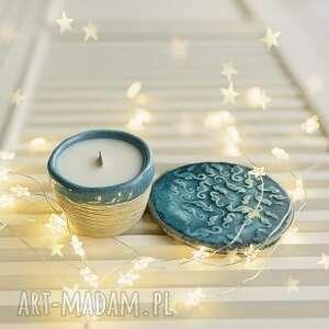 jaśmin mini box świeca i podstawka konik morski, jaśmin, sojowa