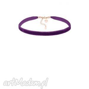 hand-made naszyjniki fioletowy aksamitny choker z regulowanym zapięciem