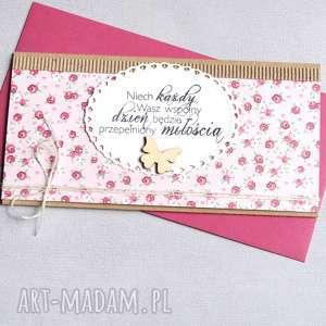 kartka kopertówka - kwiatuszki sweet pink, ślub, ślubna