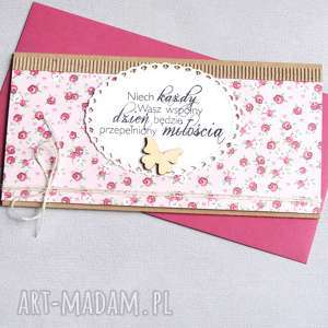 handmade kartki kartka kopertówka - kwiatuszki sweet pink