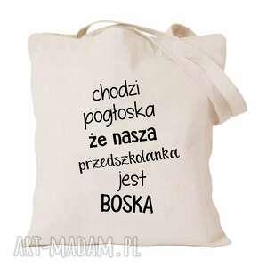 handmade torba z nadrukiem dla przedszkolanki, prezent, zakończenie roku, dzień edukacji
