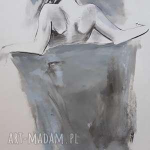 blue, duża grafika, kobieta obraz, niebieska rysunek, rysunek