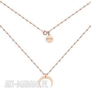 Naszyjnik z różowego złota księżycem, naszyjnik, różowe, złoto, modowy, trendy,