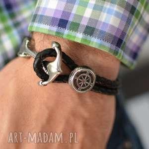 handmade męska bransoletka skórzana z kotwicą czarna