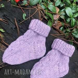 unikalny, buciki skarpetki dziecięce, wełniane, na drutach
