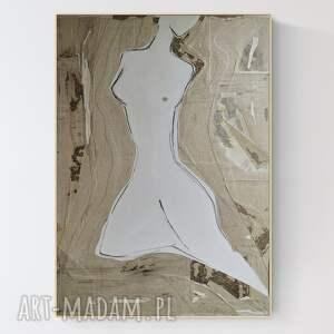 duża abstrakcja na płótnie z wyjątkową fakturą, obraz w ramie, 92 x 128 cm