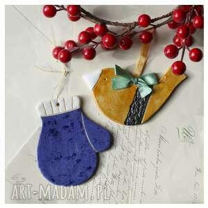 zestaw mikołajkowy vii, ceramika, rękawiczka, ptaszek, święta, mikołajki