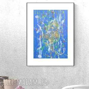 annasko oryginalna abstrakcja, granatowa dekoracja na ścianę, minimalistyczny