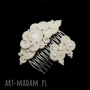 komplet ślubny desiro pearl soutache, zestaw, ekskluzywny, ślubny, rękodzieło, sutasz