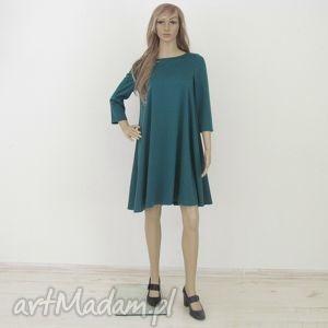 7 - sukienka ciemno zielona, sukienka, sukienki, rozkloszowana, trapez, elegancka