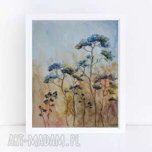łąka-akwarela formatu 12,5/18 cm, akwarela, papier, łąka, kredki