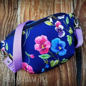 unikalny, nerka mini bratki, w kwiaty, fioletowa, torebka, mała