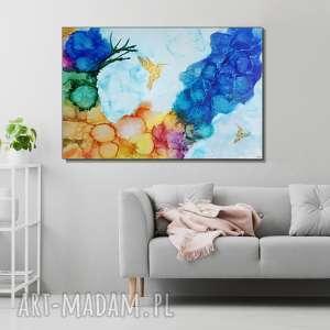 kolibry w tęczowej mgle - 120x80 cm obraz ręcznie malowany, abstrakcja