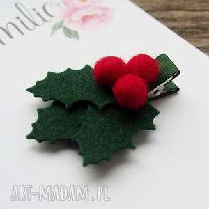 spinka do włosów gałązka ostrokrzewu, spinka, filc, świąta, świąteczna, holly ozdoby