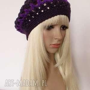 fioletowy ażurowy beret - ozdobna czapka - beret, ażurowy, ozdobny, przewiewny