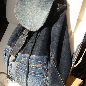 jeansowy plecak, jeans, denim, recykling, obszerny, modny torebki