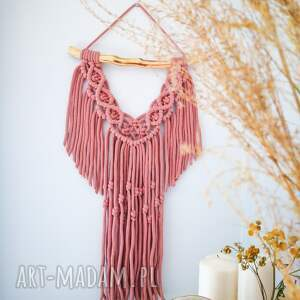 ręcznie wykonane dekoracje makrama ścienna rozalia różowa duża
