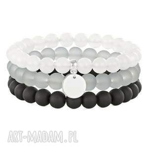 bransoletki simply charm-moon,black, gray silver trio , jadeit, moneta, koralik