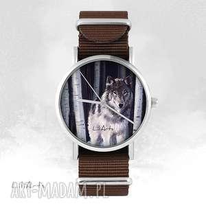 hand made zegarki zegarek - szary wilk brązowy, nato, unisex