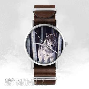 zegarek - szary wilk brązowy, nato, unisex, zegarek, bransoletka