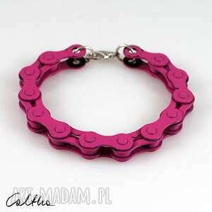 różowa - rowerowa bransoletka, bransoleta, rower, metalowa