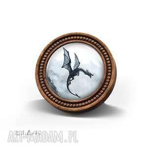 broszka drewniana liliarts - czarny smok, broszka, drewniana, naturalna