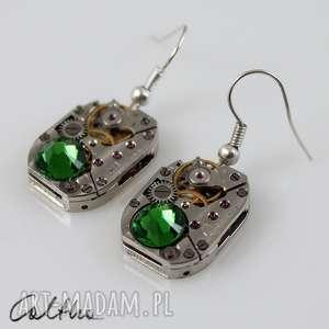 Zegarowe z zielenią - kolczyki caltha kolczyki, klipsy, wiszące
