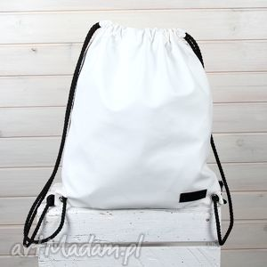 Worek biały plecak pojemny nieprzemakalny, torba, plecak, worek, skórzany,