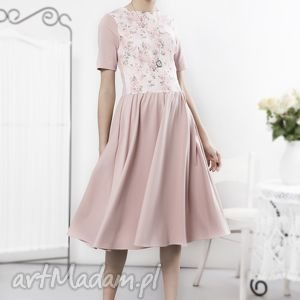 hand-made sukienki pudrowa sukienka retro z kwiatowym przodem