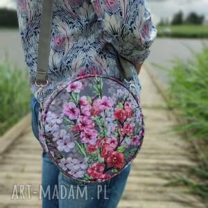 na ramię round bag - kwiaty wiśni, elegancka, nowoczesna, kwiaty, prezent