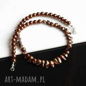 akadi 1 brązowe perły - naszyjnik, perła seashell, rzeczna, srebro