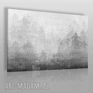 obraz na płótnie - mgła góry drzewa 120x80 cm 48901, góry, mgła, drzewa, choinki