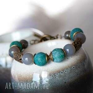 bransoletka z trawionych agatów w15, agaty bransoletka, minerały