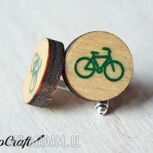 ręcznie robione spinki do mankietów drewniane rower seria color