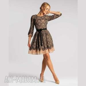 sukienka carrie mini donatella beż, mini, rozkloszowana, elegancka