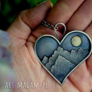 Z miłości do gór, naszyjnik-z-górami, góry, serduszko, natura, serce, szczyty