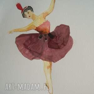 makowa baletnica - mini akwarela z kwiatem - baletnica akwarelowa, prawdziwy