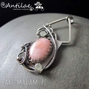 wisiorki cuecas - opal różówy, frenit, srebro , wisior, srebro, biżuteria