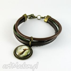 ręcznie zrobione bransoletka - sarna brąz antyczny