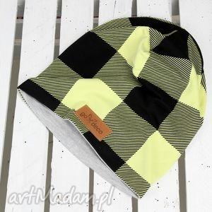 czapka w kratkę unisex - czapka, kratka, prezent, ciepła, bawelna, beanie