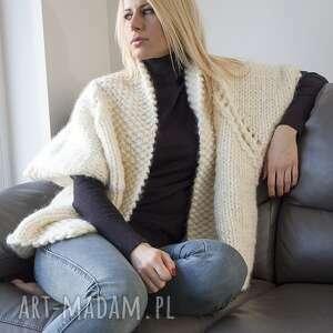 wyjątkowy prezent, ecru ala raglan, ecru, sweter, gruby