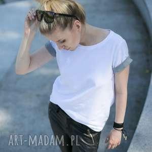 T-shirt - Koszulka Grey Sleeves, rozmiar M, biała, koszulka, t-shirt, bawełna, prosta
